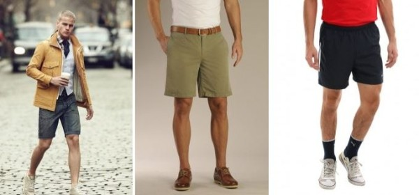 Denim, beige and black bermuda shorts for summer or beach wear