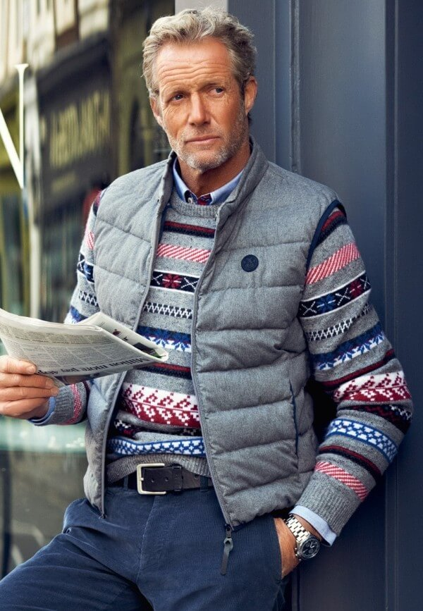 Men's winter wear combination of vest with knitwear & cardigans for casual or office look