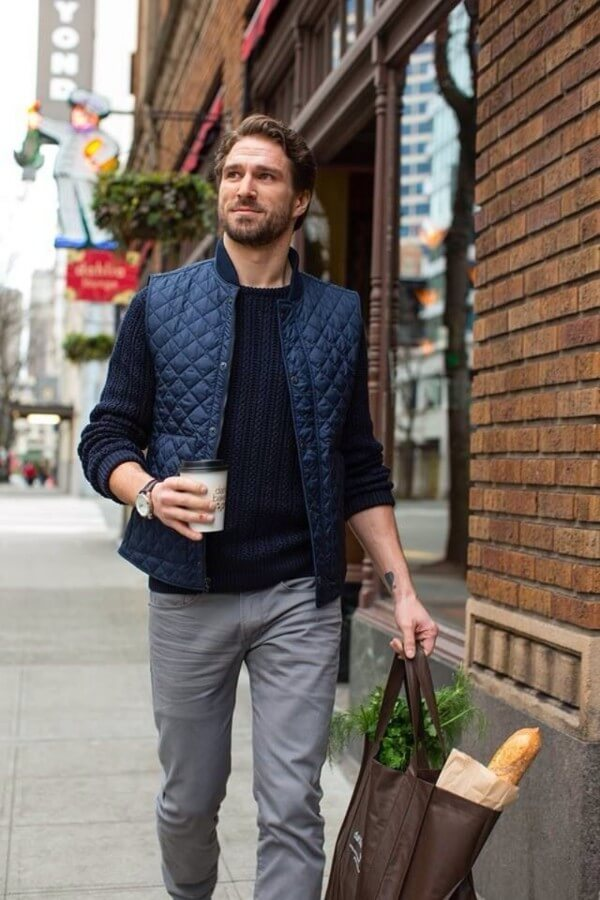 Men's gilet combination with grey jeans for winter season