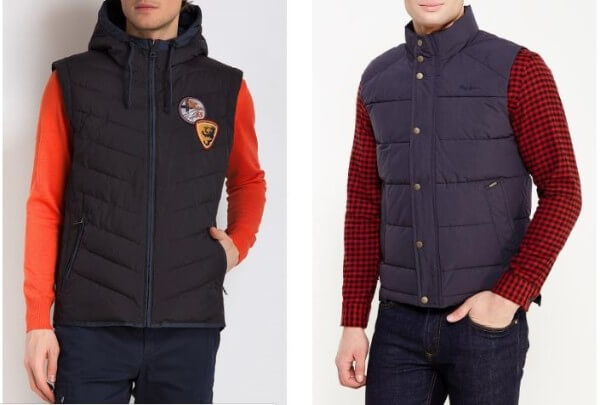 Men's gilet vest with checked shirt & sweater for winter season
