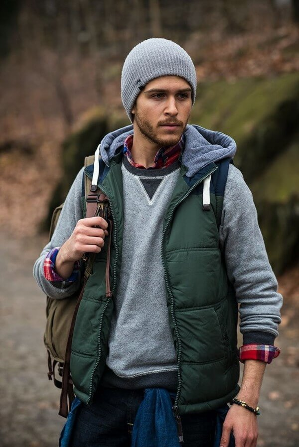 Casual winter fashion or hiking outfit like half jacket beanie for men