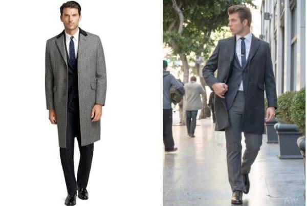 Men's stylish long grey overcoat for winter season