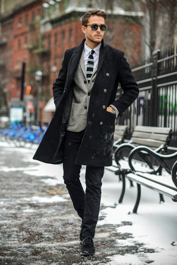classy winter, over coat outfit for men, Work/After Work Winter Dress/Casual Attire.