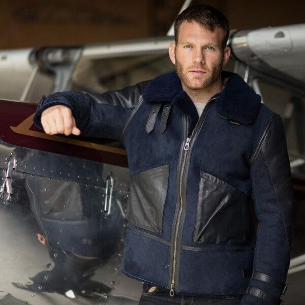 Blue sheepskin bomber jacket, coats