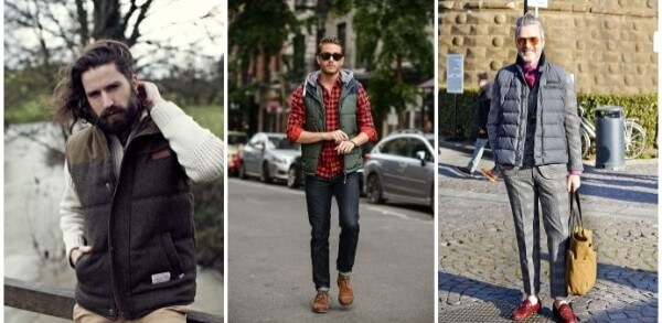 Puffer vest outfits & combination with checked shirt, cardigans & jackets for men