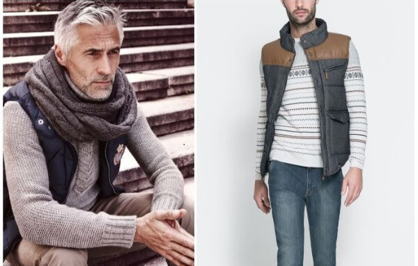 Puffer vest combination with muffler and knitted sweater for men