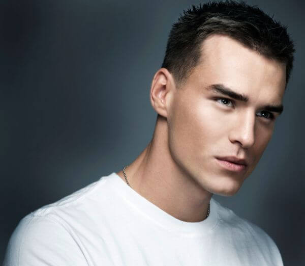 White tshirt with short or military haircut for guys