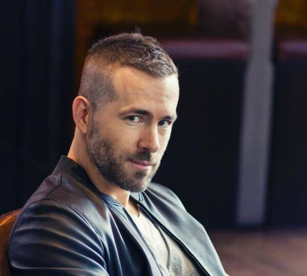 Ryan Reynold's new hairstyle from deadpool with high fade on the sides