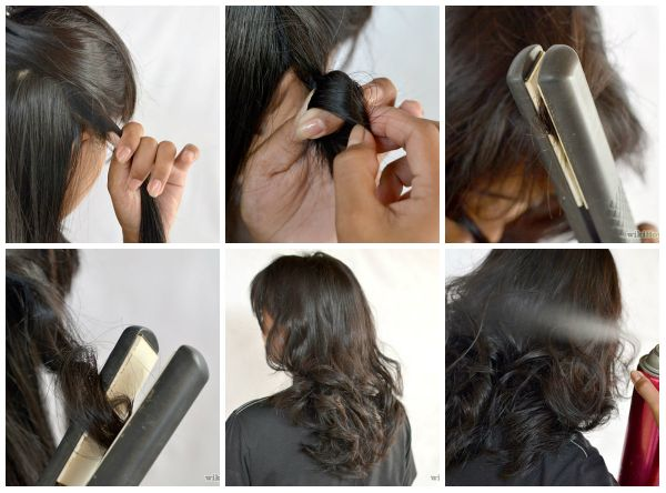 DIY Natural curls using spray and straightener