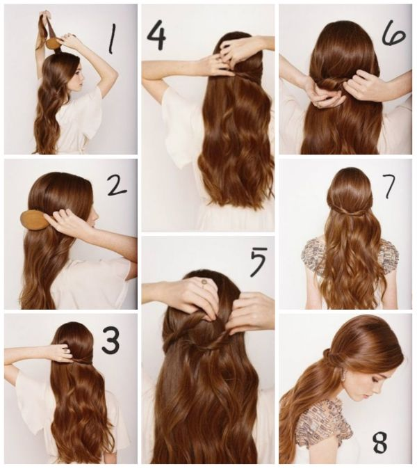 One minute knotted half up hairstyle for decent look