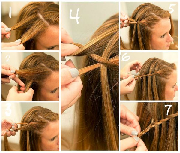 Waterfall hairstyle for long hair step by step tutorial