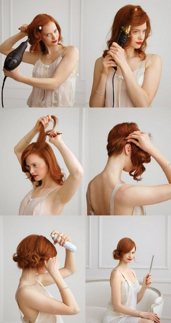 Retro-Styled Office Bun Simple Hairstyles For A Strict Dress Code