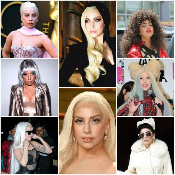 Lady Gaga's blonde and black color shades for hair