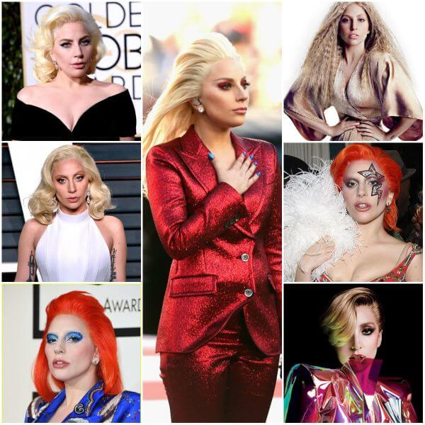 Lady Gaga in a wavy bob, long blond & orange hair