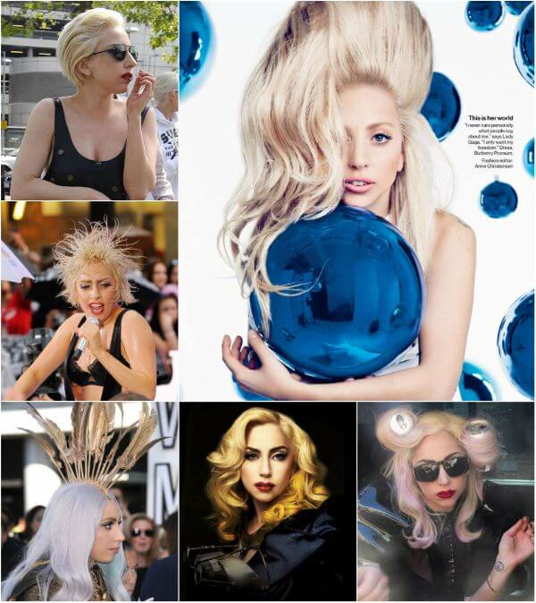 lady gaga blue ball, bob blond haircut, silver and brown curls