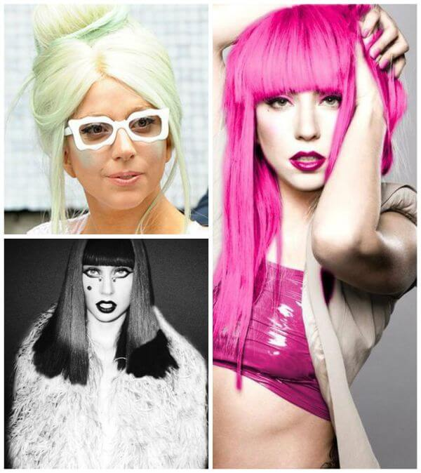 Lady gaga bright pink, black hairdo