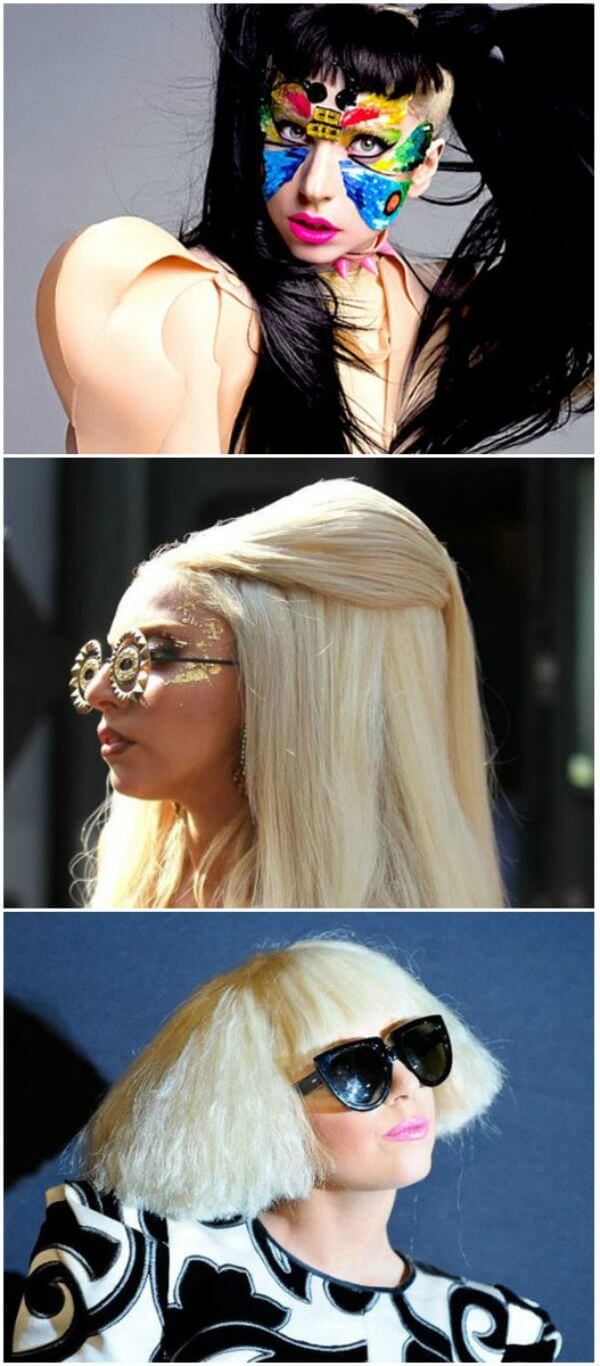 Lady Gaga black and blond hairstyle