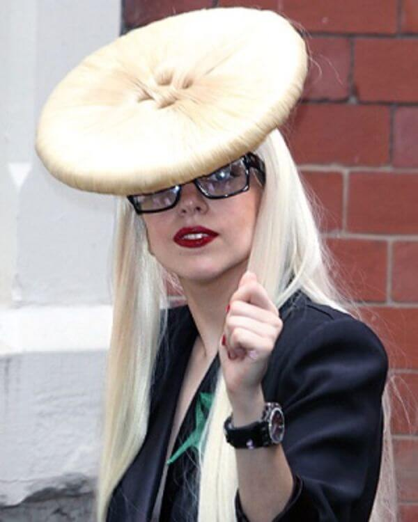 Lady Gaga oversized button updo, arriving at the manchester academy in manchester, England.