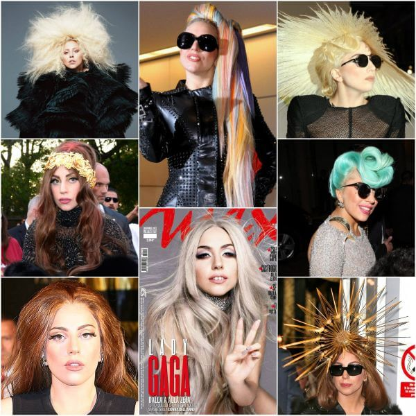 Lady Gaga with hair styled in a straw hat she keeps mutating shades in the blonde range