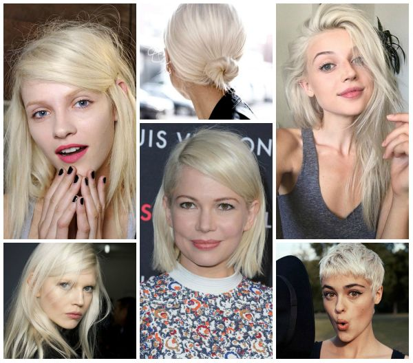 Very cool platinum blonde hair color for short, medium & long hair