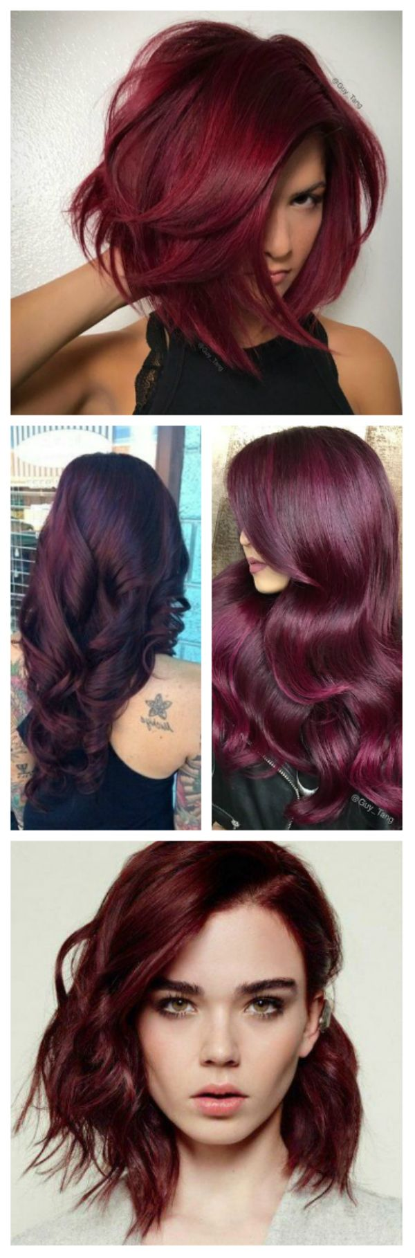 Cherry hair color is very rich, deep red with a touch of blue/brown for short, medium and long hair & it looks best on darker skin tones