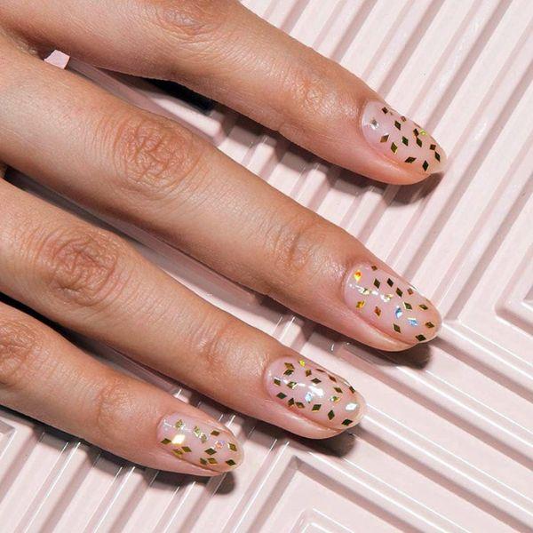 Confetti wedding manicure for short nails Wedding Manicure Ideas For Short & Long Nails