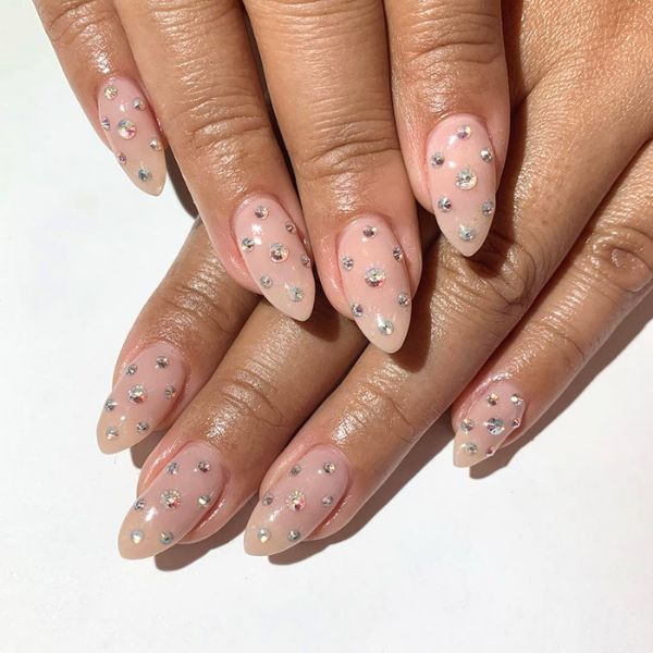 Nails Sprinkled With Rhinestones wedding manicure for long nails