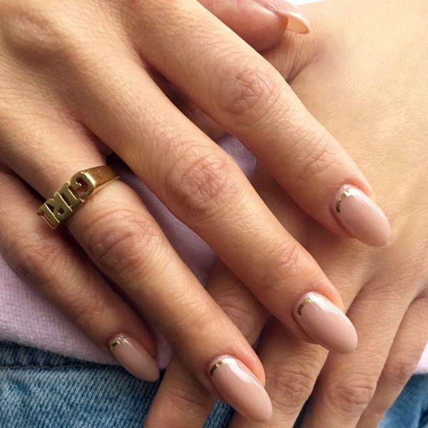 Golden Foil wedding manicure for long nails Wedding Manicure Ideas For Short & Long Nails