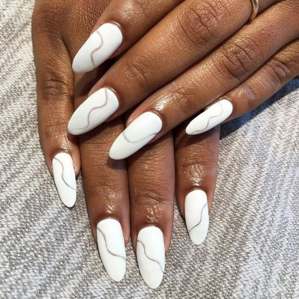 Abstraction wedding manicure for long nails Wedding Manicure Ideas For Short & Long Nails