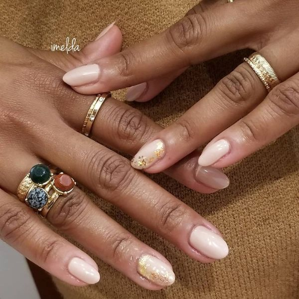 Gold Placer glitter wedding manicure for short nails Wedding Manicure Ideas For Short & Long Nails