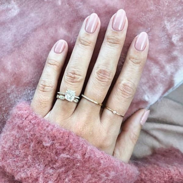 Classic Pink wedding manicure for medium nails Wedding Manicure Ideas For Short & Long Nails