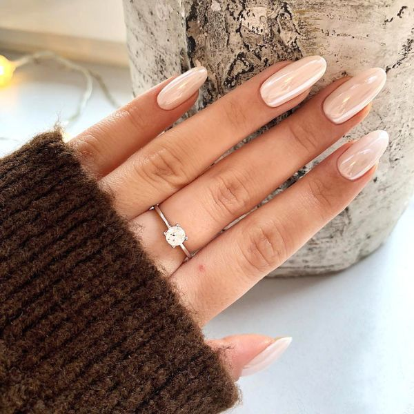 Pearl Coating pink wedding manicure for long nails. Wedding Manicure Ideas For Short & Long Nails