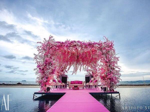 Pink Stage Decor in the middle of water