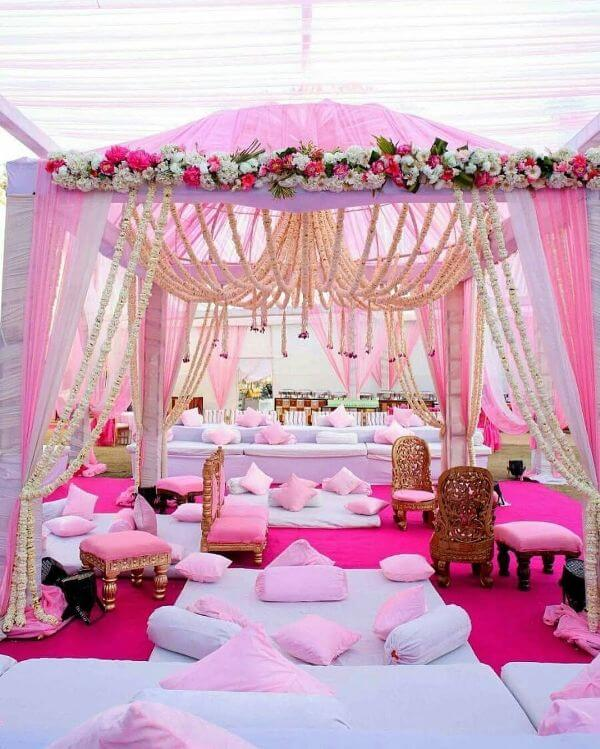 Outdoor Mandap Design Decor with Pink Flowers