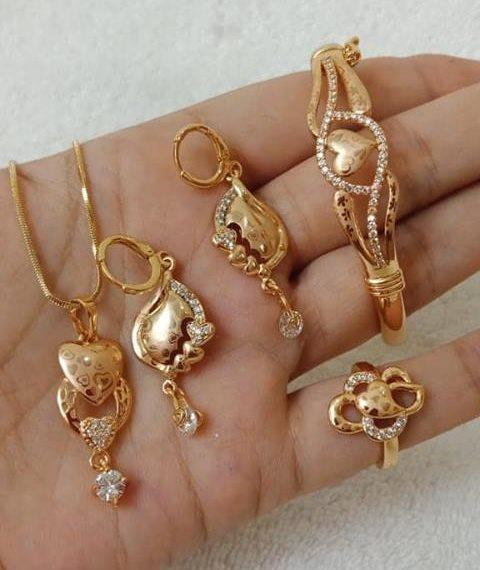 Cupid designer gold bracelet and ring set New Gold Bracelet And Ring Set Designs