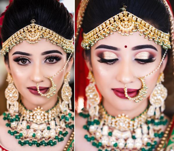 Bold eyes with rich burgundy lips: Indian Bridal Makeup for Traditional Look