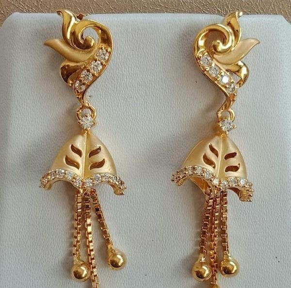 White stone-encrusted Light Weight Gold Latkan Earrings | Latest Designs