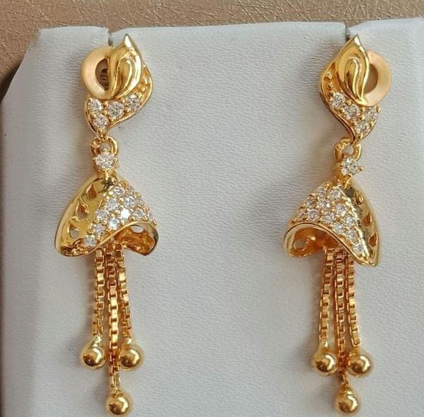 Bell-shaped Light Weight Gold Latkan Earrings | Latest Designs