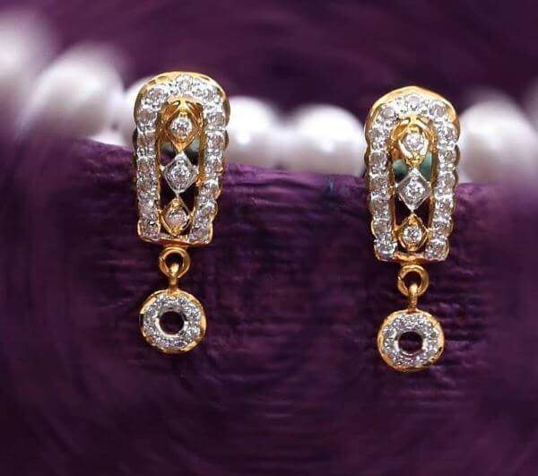 Gold and diamond Light Weight Gold Latkan Earrings | Latest Designs