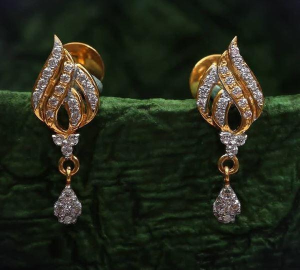Leaf-shaped Light Weight Gold Latkan Earrings | Latest Designs