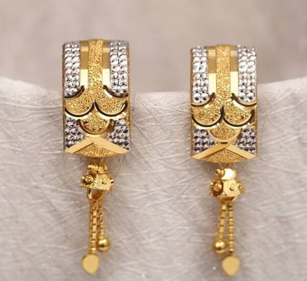 Rectangle-shaped Light Weight Gold Latkan Earrings | Latest Designs