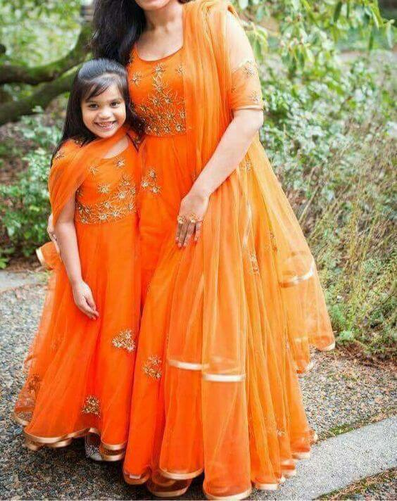 Matching in orange ethnic wear