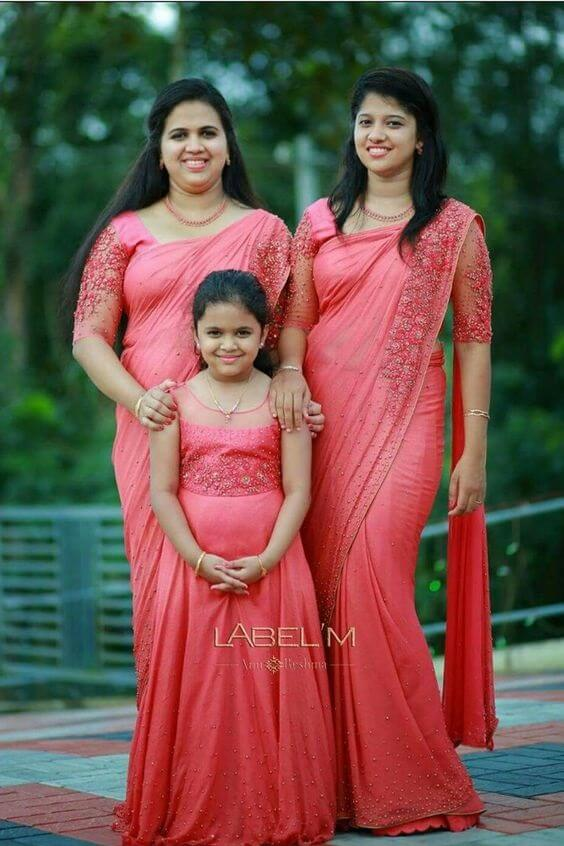 Matching outfit in Pink for Family Function