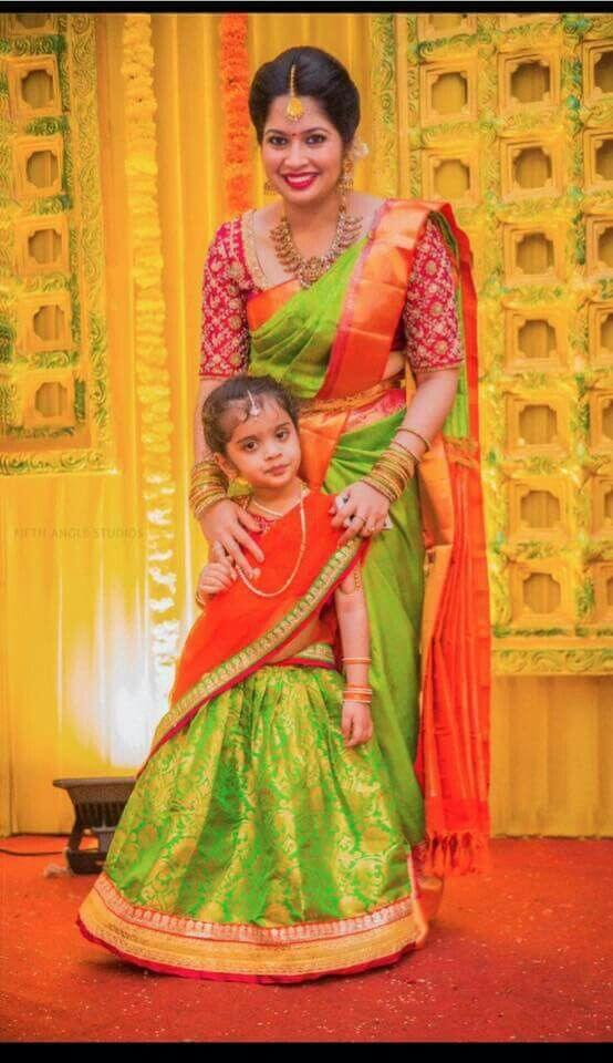 Mother & Daughter in traditional saree look