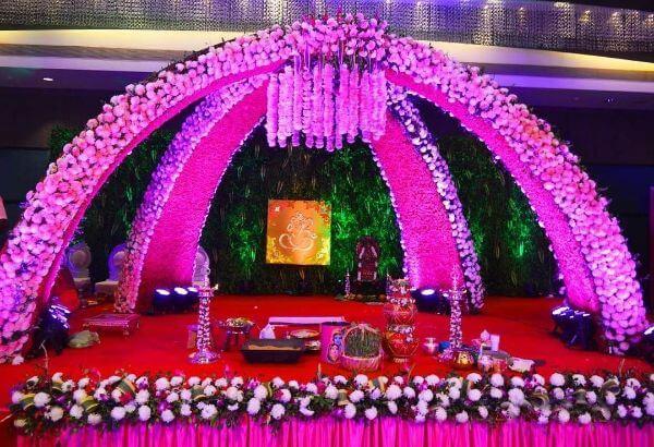 Pink Floral Wedding Traditional Mandap Decor
