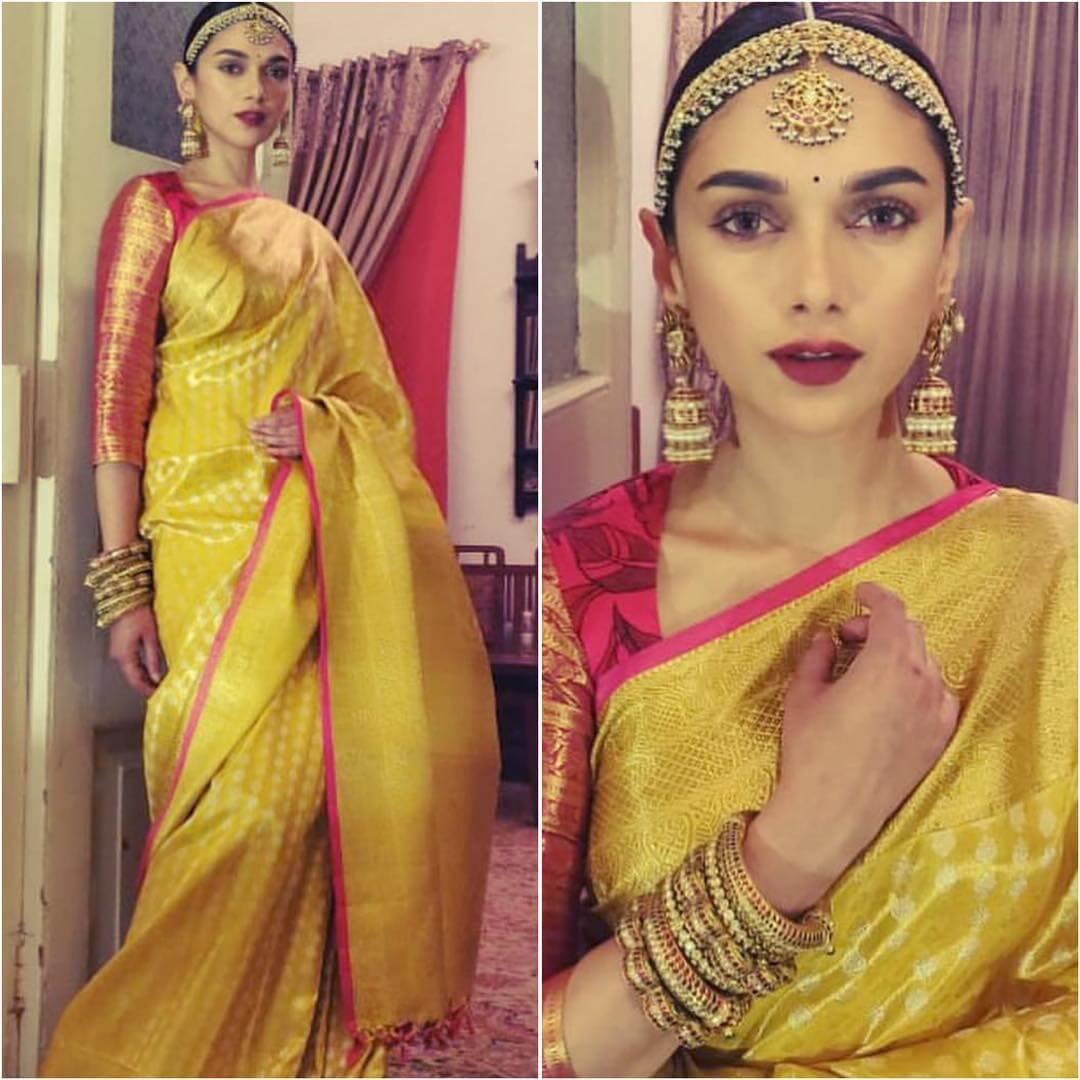 AditiRao Hydari in yellow silk saree Silk Saree Designs Inspired from Bollywood Divas