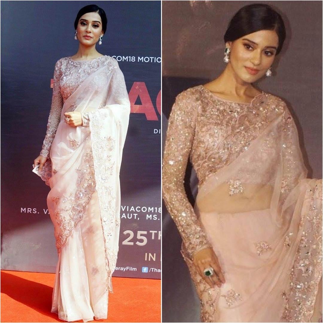 Amrita Rao in blush pink saree: Hot n Sizzling Designer Sarees from Bollywood Celebs