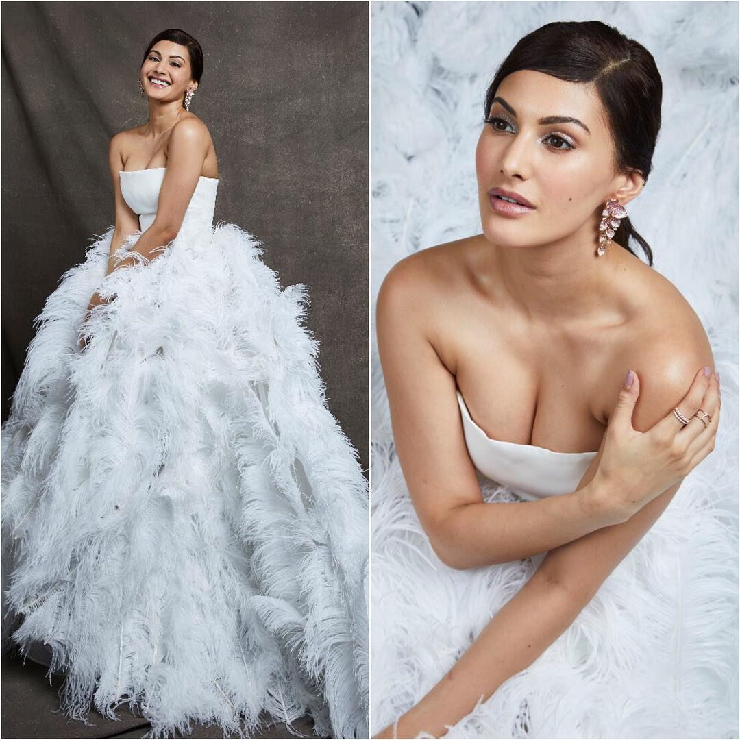 Amyra Dastur in feathery white: Long Evening Dresses in Bollywood Style