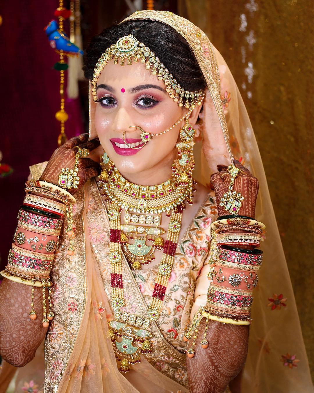 Dewy makeup look: Indian Bridal Makeup Look in Celeb Style