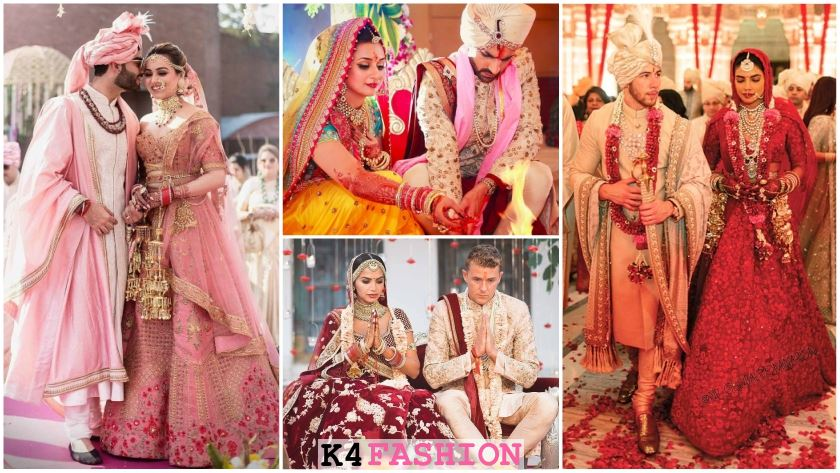 Bride And Groom Wedding Dress Colour Combinations K4 Fashion